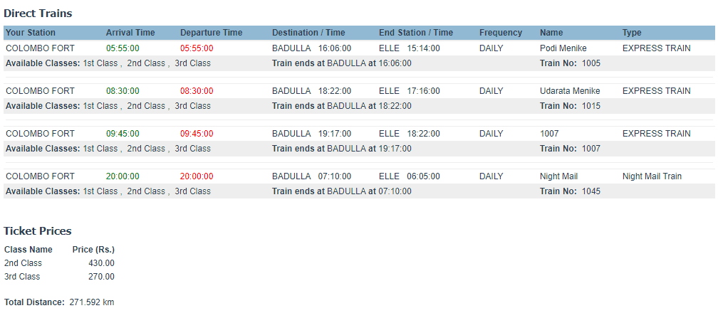 Colombo to Ella Train Time Schedules