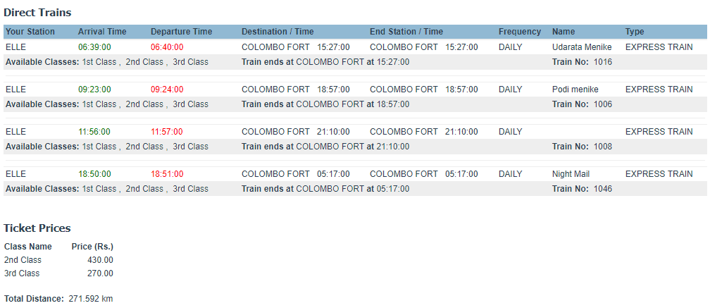 Ella to Colombo fort Time Schedule